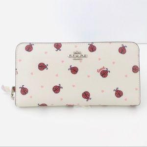 Coach Accordion White Zip Wallet Ladybug 🐞 Print